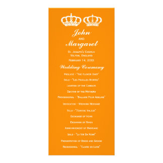 Orange Royal Couple Wedding Program Customized Rack Card