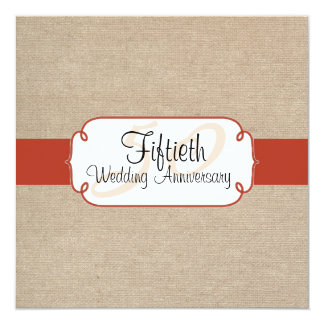 Orange Rust and Beige Burlap Anniversary Party Personalized Invitation