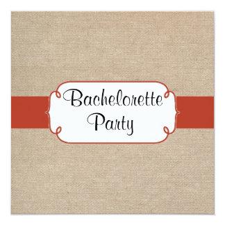 Orange Rust and Beige Burlap Bachelorette Party 13 Cm X 13 Cm Square Invitation Card