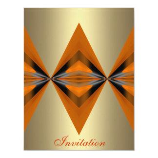 "Orange Rust Geo Shapes Bronze 4.25"" X 5.5"" Invitation Card"