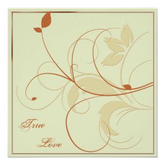 Orange Rust Gold Leaves Fall Wedding Invitation