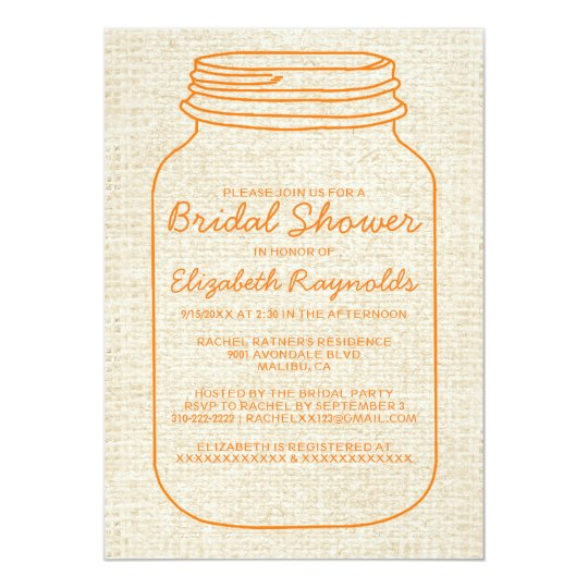 Orange Rustic Mason Jar Bridal Shower Invitations