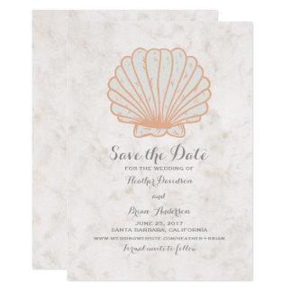 Orange Rustic Seashell Save the Date Invite