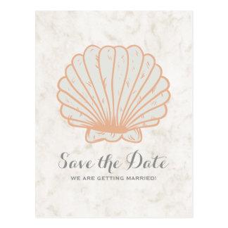 Orange Rustic Seashell Save the Date Postcard