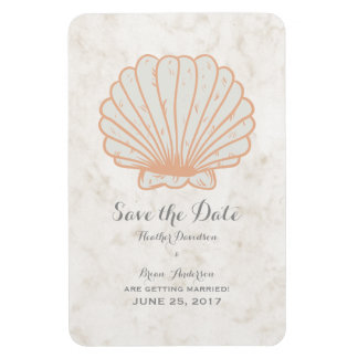 Orange Rustic Seashell Save the Date Rectangular Photo Magnet