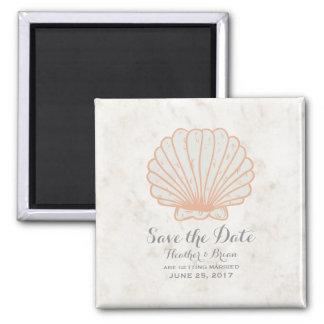 Orange Rustic Seashell Save the Date Square Magnet