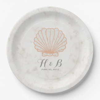 Orange Rustic Seashell Wedding 9 Inch Paper Plate
