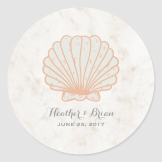Orange Rustic Seashell Wedding Classic Round Sticker