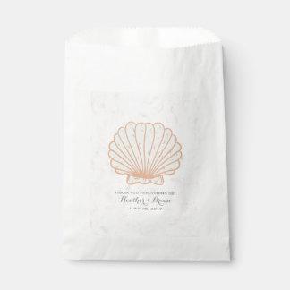 Orange Rustic Seashell Wedding Favour Bag