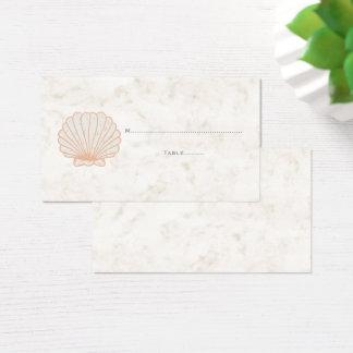 Orange Rustic Seashell Wedding Place Cards