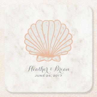 Orange Rustic Seashell Wedding Square Paper Coaster