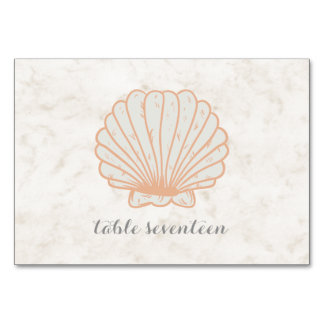 Orange Rustic Seashell Wedding Table Card