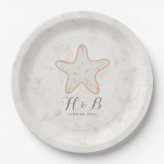 Orange Rustic Starfish Wedding 9 Inch Paper Plate