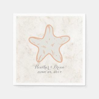 Orange Rustic Starfish Wedding Disposable Napkins