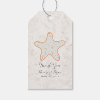 Orange Rustic Starfish Wedding Gift Tags