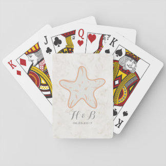 Orange Rustic Starfish Wedding Playing Cards