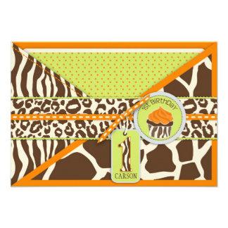 Orange Safari Cupcake First Birthday Enclosure Announcement