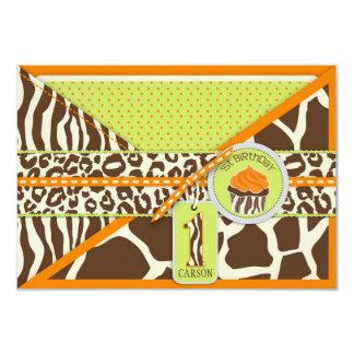 Orange Safari & Cupcake First Birthday RSVP Invitations