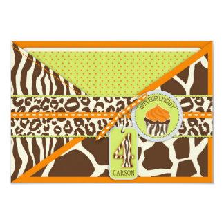 Orange Safari & Cupcake Fourth Birthday Enclosure Invite