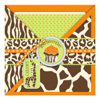Orange Safari Giraffe Cupcake Second Birthday Custom Invites