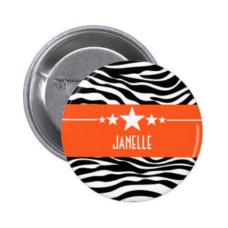 Orange Sassy Star Zebra Button