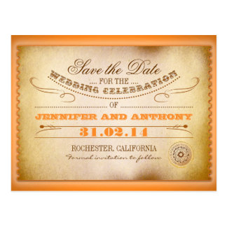 orange save the date vintage tickets postacards postcard