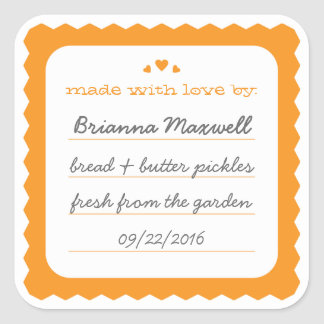 Orange Scallop Hearts Jar Label Square Sticker