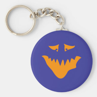 Orange Scary Face. Monster. Basic Round Button Key Ring
