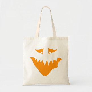 Orange Scary Face. Monster. Budget Tote Bag
