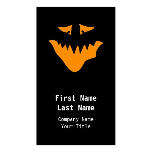 Orange Scary Face. Monster. Business Card