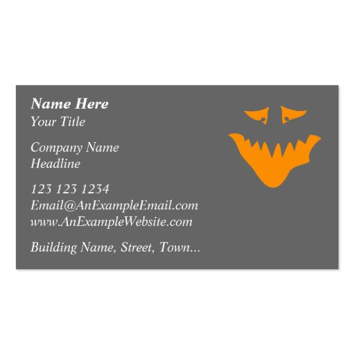 Orange Scary Face. Monster. Business Card Templates