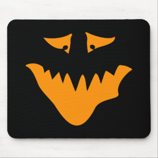 Orange Scary Face Monster Mouse Pad