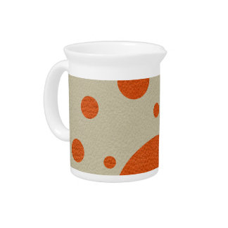 Orange Scattered Spots on Stone Leather print Beverage Pitchers