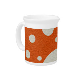 Orange Scattered Spots on Stone Leather print Pitchers