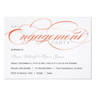 "Orange Script Engagement Party Invitation 5"" X 7"" Invitation Card"