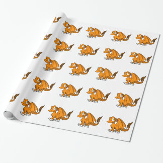 Orange SD Furry Dragon Wrapping Paper