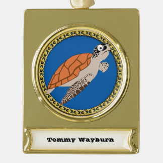 Orange sea turtle swimming with a gold frame gold plated banner ornament