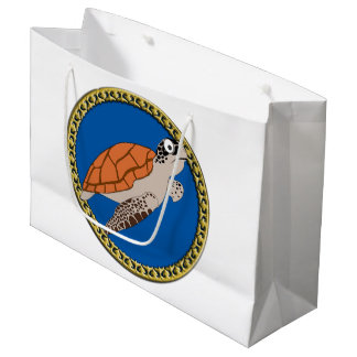 Orange sea turtle swimming with a gold frame large gift bag