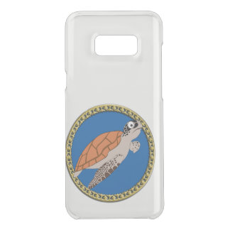 Orange sea turtle swimming with a gold frame uncommon samsung galaxy s8 plus case