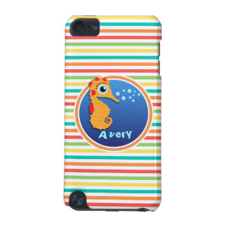 Orange Seahorse Bright Rainbow Stripes iPod Touch (5th Generation) Cover