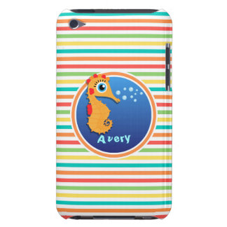 Orange Seahorse Bright Rainbow Stripes Barely There iPod Covers
