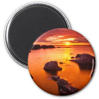 Orange seascape, sunset, California 6 Cm Round Magnet