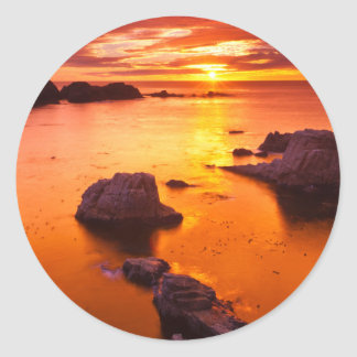 Orange seascape, sunset, California Classic Round Sticker