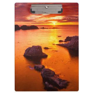 Orange seascape, sunset, California Clipboard