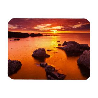 Orange seascape, sunset, California Rectangular Photo Magnet