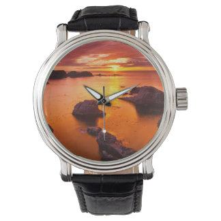Orange seascape, sunset, California Watch