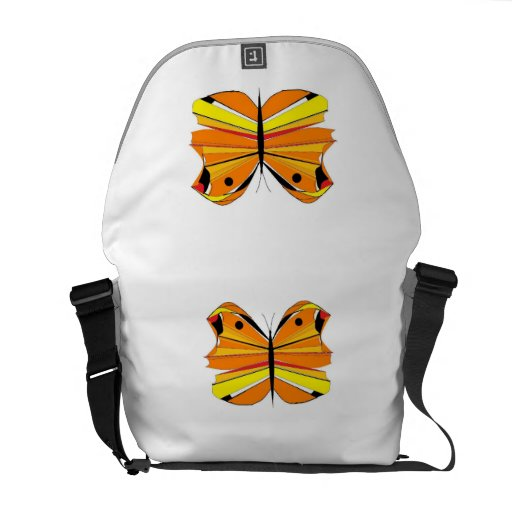Orange Semi-abstract butterfly Messenger Bag