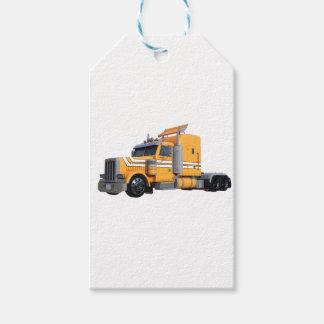 Orange Semi Tractor Trailer Gift Tags