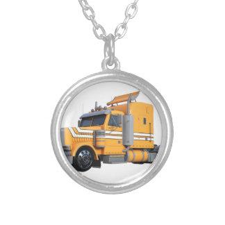 Orange Semi Tractor Trailer Silver Plated Necklace