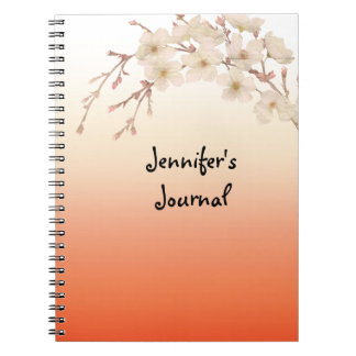Orange Shades Branch of White Blossoms Spiral Notebook